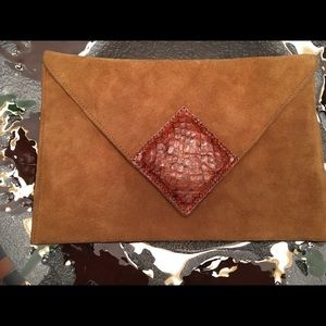 Vintage suede clutch by David Mahler for Dame